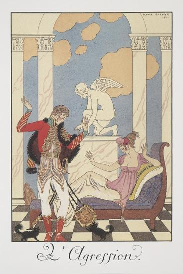 Falbalas Et Fanfreluches, Almanac for 1922, L'Aggression-Georges Barbier-Giclee Print