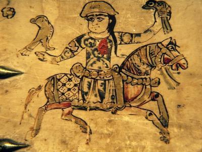 Falconer on Horseback, Detail from Ivory Casket, 11-12th C--Art Print