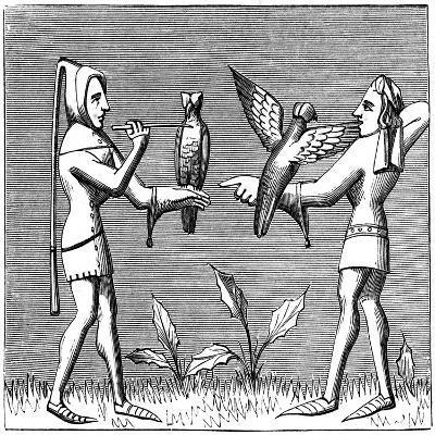 Falconers Dressing their Birds, 14th Century--Giclee Print