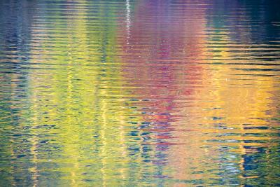 Fall Color Trees Reflected in Rippled Water-Trish Drury-Photographic Print