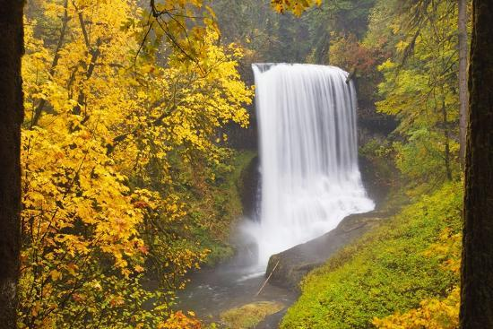 Fall Colors Add Beauty to North Middle Falls, Silver Falls State Park, Oregon, Pacific Northwest-Craig Tuttle-Photographic Print