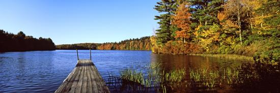 Fall Colors Along a New England Lake, Goshen, Hampshire County, Massachusetts, USA--Photographic Print