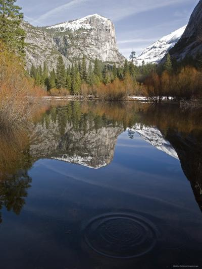 Fall Colors and Mount Watkins Reflecting in Mirror Lake, California-Rich Reid-Photographic Print