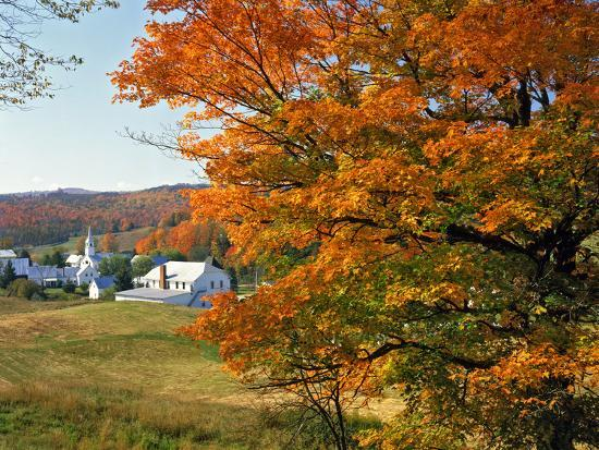 Fall Colors Framing Church and Town, East Corinth, Vermont, USA-Jaynes Gallery-Photographic Print