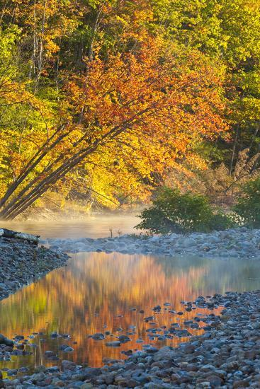Fall Colors Reflect in the Saco River, New Hampshire. White Mountains-Jerry & Marcy Monkman-Photographic Print