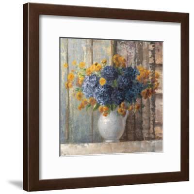 Fall Dahlia Bouquet Crop Blue-Danhui Nai-Framed Art Print