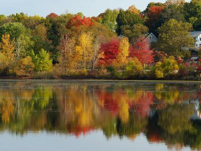 Fall Foliage Reflected in the Arlington Reservoir-Darlyne A^ Murawski-Photographic Print