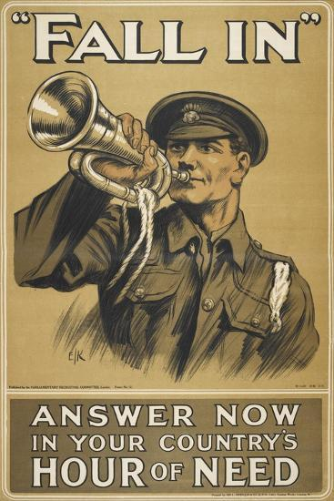 Fall In.' Answer Now in Your Country's Hour Of Need'--Giclee Print
