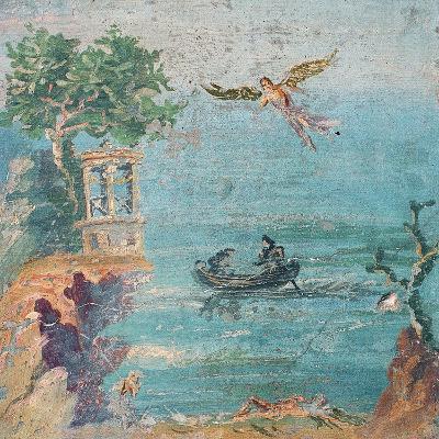Fall of Icarus, Dead on Beach, Daedalus in Sky, C. 45-79--Art Print