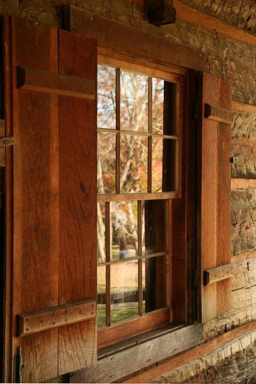 Fall reflections in windows of Cades Cove cabin, Tennessee, USA-Anna Miller-Photographic Print