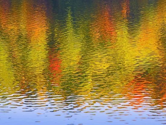 Fall Trees Reflected in Lake-Owaki-Photographic Print