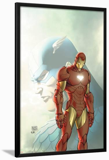 Fallen Son: The Death Of Captain AmericaNo.5 Cover: Captain America and Iron Man-Michael Turner-Lamina Framed Poster