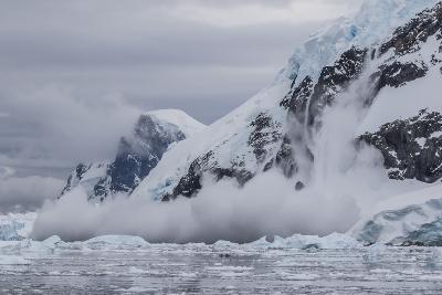 Falling Avalanche of Snow and Ice in Neko Harbor, Antarctica, Polar Regions-Michael Nolan-Photographic Print