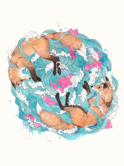 Falling Foxes-Laura Graves-Art Print