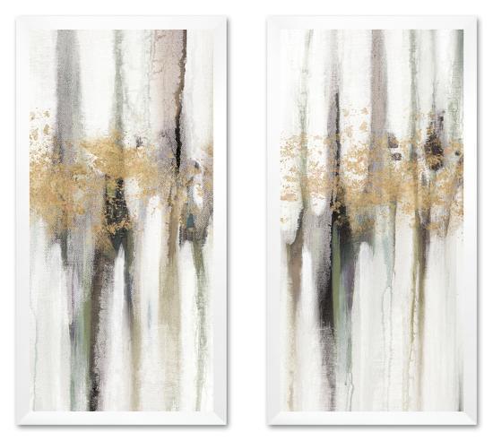 Falling Gold Leaf Framed Canvas Set--Framed Set