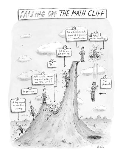 """""""Falling off the Math Cliff"""" - New Yorker Cartoon-Roz Chast-Premium Giclee Print"""