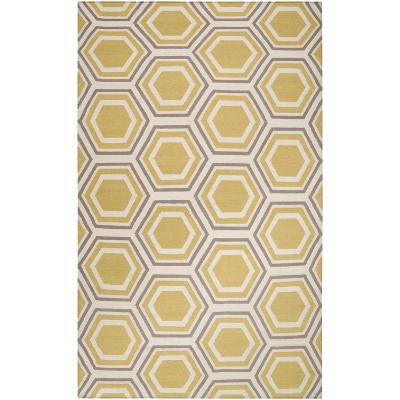 Fallon Honeycomb Area Rug - Beige/Gold 5' x 8'--Home Accessories