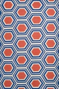 Fallon Honeycomb Area Rug - Cobalt/Rust 5' x 8'