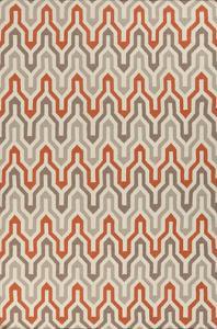 Fallon Maze Area Rug - Tangerine/Taupe 5' x 8'