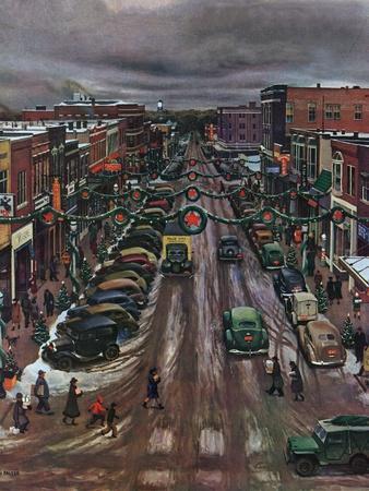 """Falls City, Nebraska at Christmas,"" December 21, 1946-John Falter-Giclee Print"