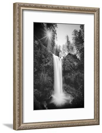 Falls Creek Falls in Black and White, Washington, Columbia River Gorge-Vincent James-Framed Photographic Print