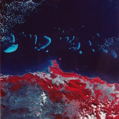 False-Color Aerial Image of Ne Australia and Great Barrier Reef, Taken from Space Shuttle--Photographic Print