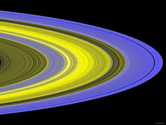 False-Color Image of Saturn's Main Rings Made Using Cassini's Ultraviolet Imaging Spectrograph-Stocktrek Images-Photographic Print
