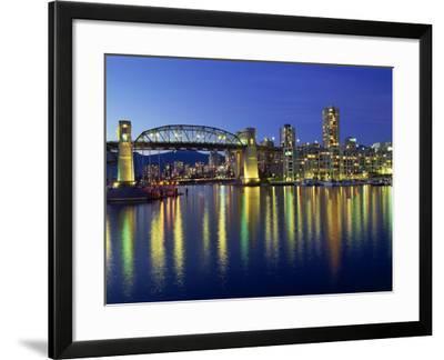 False Creek, Below Burrard Bridge at Night, in Vancouver, British Columbia, Canada-Rob Cousins-Framed Photographic Print