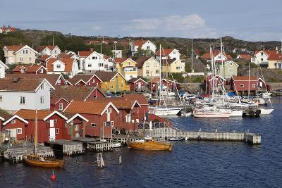 Falu Red Fishermen's Houses in Harbour, Southwest Sweden-Stuart Black-Photographic Print