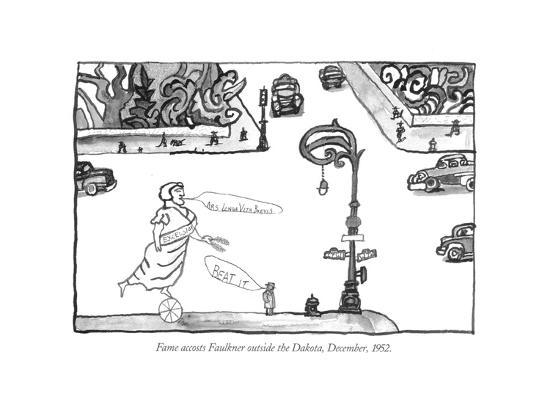 Fame accosts Faulkner outside the Dakota, December, 1952. - New Yorker Cartoon-Saul Steinberg-Premium Giclee Print