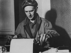 Famed Journalist and War Correspondent Ernie Pyle Working at Typewriter