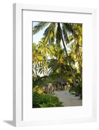 Families Outside Homes in a Fishing Village On Matemo Island-Jad Davenport-Framed Photographic Print