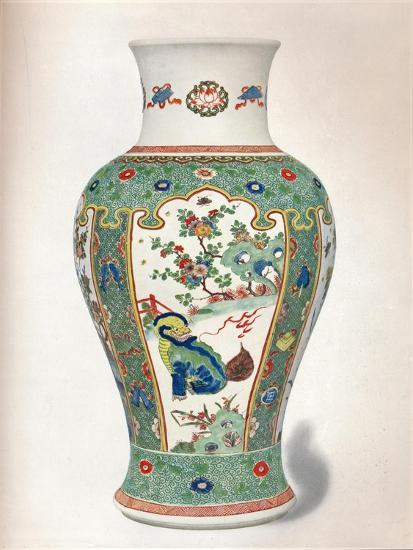 Famille Verte Vase, with four upright panels painted with rocks and flowering plants-Unknown-Giclee Print