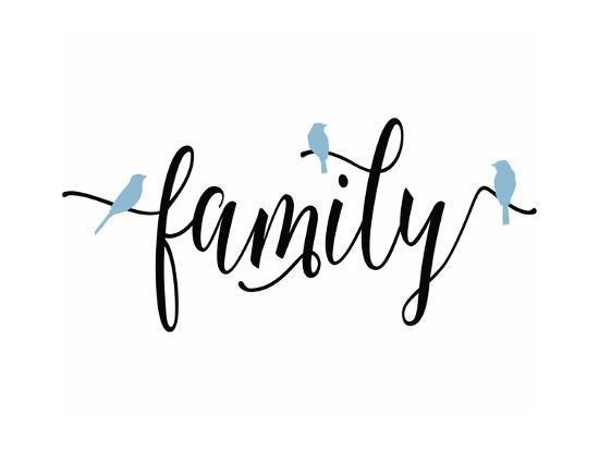 Family Blue Birds-Tara Moss-Art Print