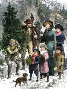 Family Bringing Home their Christmas Tree and Mistletoe, 1880s