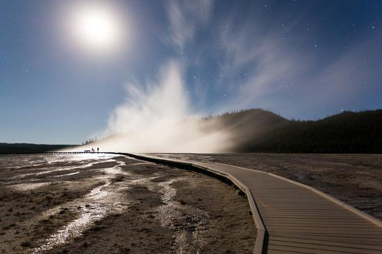 Family Doing Photography, Grand Prismatic Spring, Midway Geyser Basin, Yellowstone NP, Wyoming-Mike Cavaroc-Photographic Print