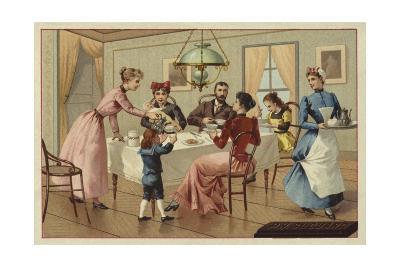 Family Drinking Chocolate--Giclee Print