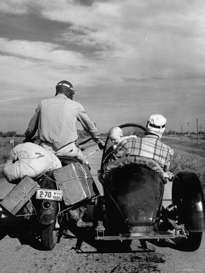 Family Driving on Motorcycle and Sidecar from Omaha, Nebraska to Salt Lake City, UT-Allan Grant-Photographic Print