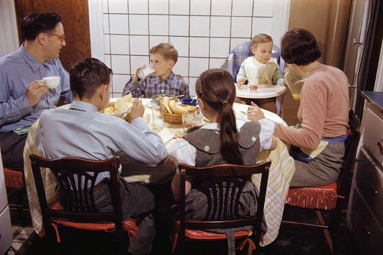 Family Eating Together at Dinner Table-William P^ Gottlieb-Premium Photographic Print