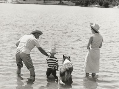 Family Fishing by Lake-Dennis Hallinan-Photographic Print