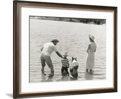 Family Fishing by Lake-Dennis Hallinan-Framed Photographic Print