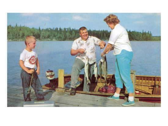 Family Fishing on Midwestern Lake, Retro--Art Print