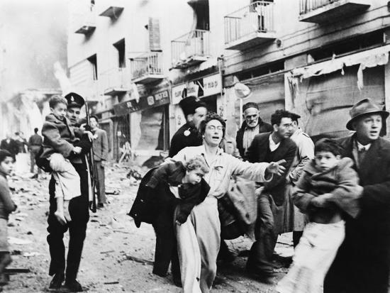 Family Fleeing from the Jewish District of Jerusalem, after a Bomb Blast, Feb. 1948--Photo