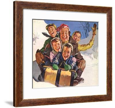 Family Fun on Sled, 1958--Framed Giclee Print
