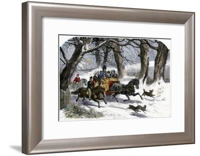 Family Going to a Christmas Party by Horse-Drawn Sleigh, England, 1850s--Framed Photographic Print