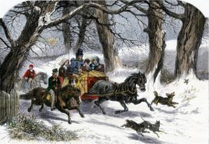Family Going to a Christmas Party by Horse-Drawn Sleigh, England, 1850s