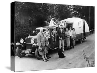 Family Group with their 1930 Fiat Towing a Caravan, (C1930)