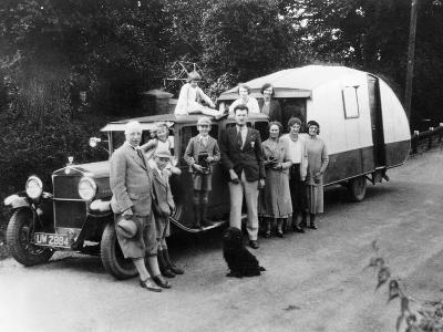 Family Group with their 1930 Fiat Towing a Caravan, (C1930)--Photographic Print