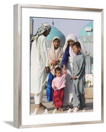Family Looking at Famous White Pigeons at the Shrine of Hazrat Ali, Mazar-I-Sharif, Afghanistan-Jane Sweeney-Framed Photographic Print