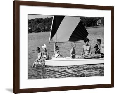 Family of Apollo 8 Astronaut William Anders on a Sailboat-Ralph Morse-Framed Premium Photographic Print